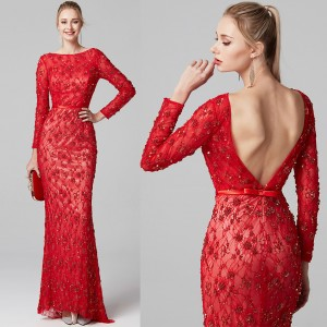 Crystal Evening Dress Long Red