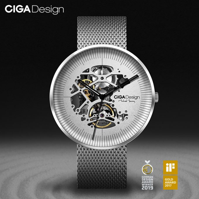 Ciga Design Michael Young Series Automatic Mechanical Skeleton Wristwatch Silver