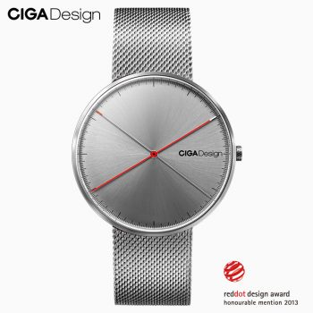 Ciga X Series Quartz Watch Men's Wristwatches 3atm Waterproof Stainless Steel Woven Strap Silver