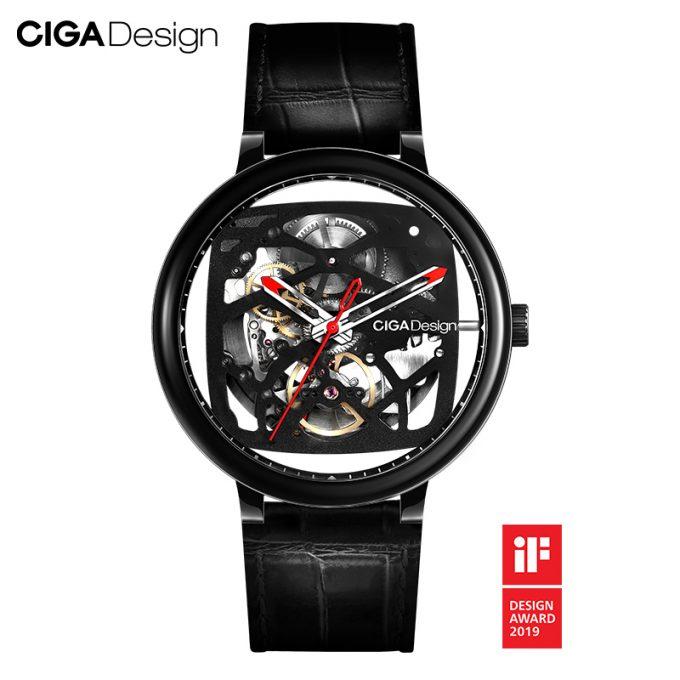 Original Ciga Design Fangyuan Series Skeleton Creative Automatic Mechanical Watch Genuine Leather Strap Watch Black