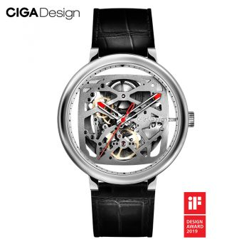 Original Ciga Design Fangyuan Series Skeleton Creative Automatic Mechanical Watch Genuine Leather Strap Watch Silver