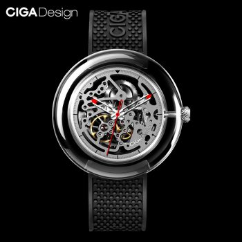 Original Ciga Design T Series Fully Transparent Watch Case Seagulls Movement Mechanical Watch Black