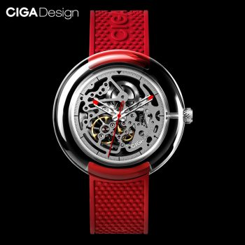 Original Ciga Design T Series Fully Transparent Watch Case Seagulls Movement Mechanical Watch Red