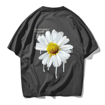 Daisy Flower Print Tshirts Casual Streetwear Short Sleeve Tops Tees Gray