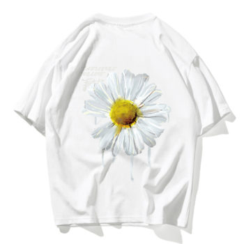 Daisy Flower Print Tshirts Casual Streetwear Short Sleeve Tops Tees White