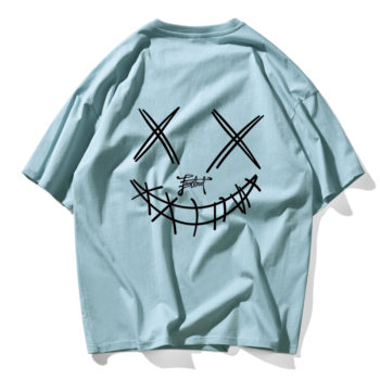 Devil Skull Print Couple Summer Fashion Men T Shirt Hip Hop Blue