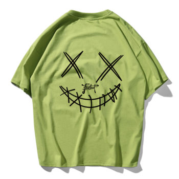 Devil Skull Print Couple Summer Fashion Men T Shirt Hip Hop Green