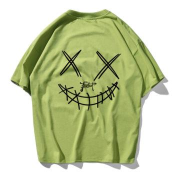 Devil Skull Print Couple Summer Fashion Men T Shirt Hip Hop Green