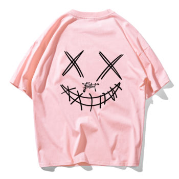 Devil Skull Print Couple Summer Fashion Men T Shirt Hip Hop Pink