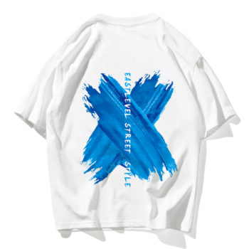 Men Short Sleeve Watercolor Print T Shirt White