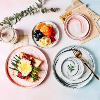 Scandinavian Ceramic Marble Dishes Plates