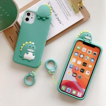 3d Cartoon Animal Soft Silicone Protective Case Green Dinosaur Mobile Phone Case