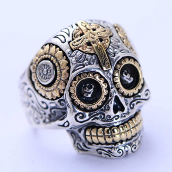 Vintage Real 925 Sterling Silver Biker Sugar Skull Head Ring Jewelry For Men Women